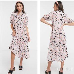 ASOS Design Pink Puff Sleeve Polka Dot Midi Dress